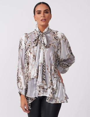 Grey Pussy Bow Multi Print Blouse