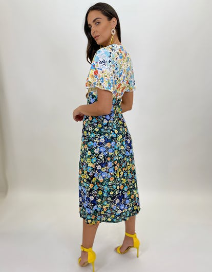 Two Tone Floral Tea Dress with Double Split
