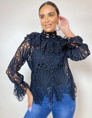Black Broderie Anglaise Shirt