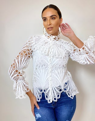 White Broderie Anglaise Shirt
