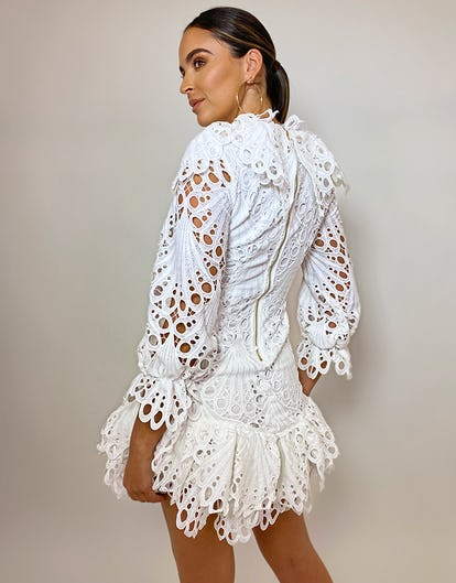 White Broderie Ruffle Mini Dress