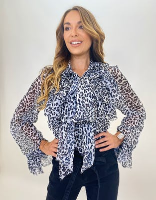 Grey Leopard Print Ruffle Neck Pussybow Blouse