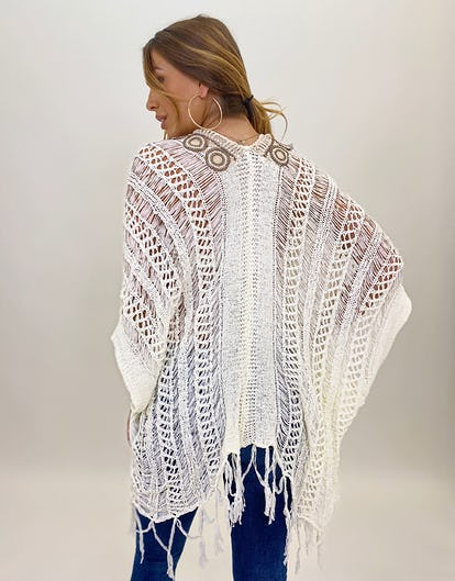Cream Crochet Knit Kaftan Top