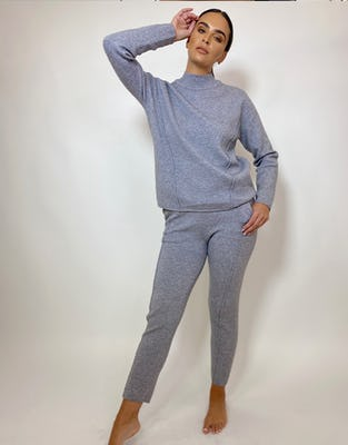 Grey Boxy Knit Loungewear Set