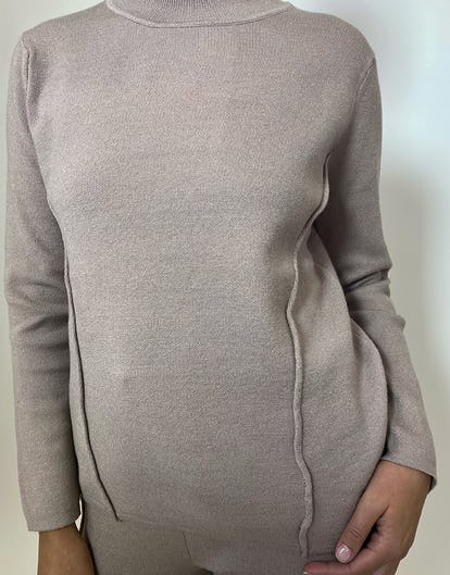 Taupe Boxy Knit Loungewear Set
