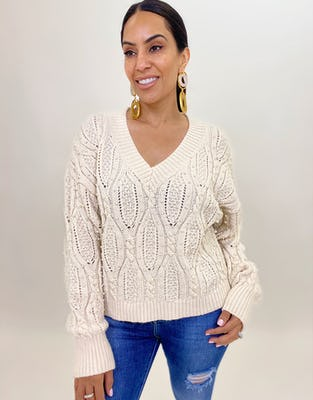 Cream Cable Knit V Neck Jumper with Pearl Embellishment
