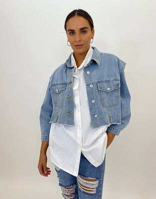 Sleeveless Bleach Cropped Denim Jacket