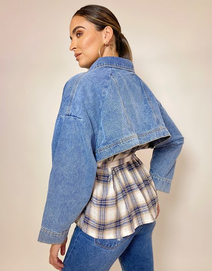 Denim Checked Shacket