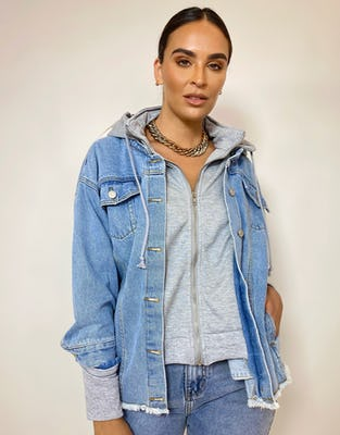 Denim Jacket with Jersey Hooded Panel