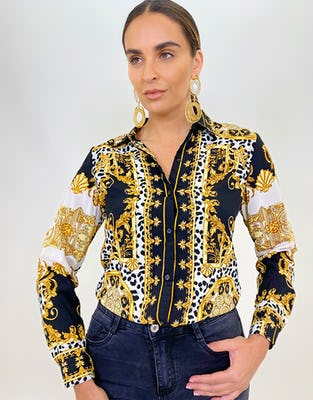 Black and Gold Baroque Print Shirt