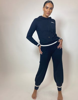 Black Loungewear Set with White Trim Detail