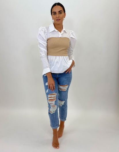 White and Camel Jumper Shirt