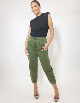 Olive Cropped Balloon Jeans