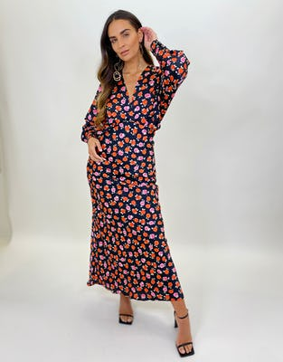 Black Rose Print Maxi Dress