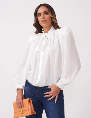 Sheer White Pussy-Bow Blouse