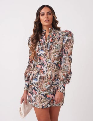 Multi Paisley Print Mini Dress