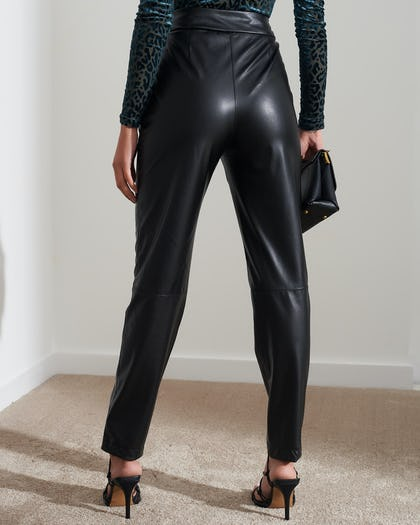 Black High Waisted Faux Leather Trousers
