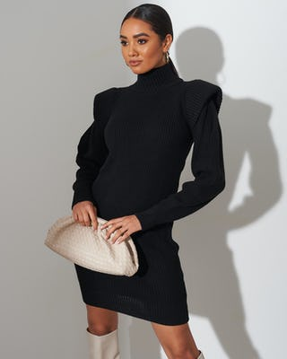 Black Knit Jumper Dress