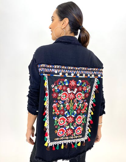 Black Embroidered Shacket