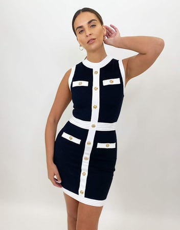 Black and White Quilted Sleeveless Dress