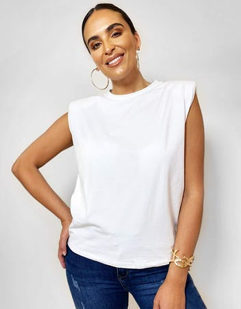 White Shoulder Pad T-Shirt