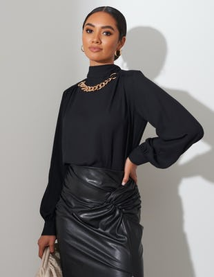 Black Tie Neck Chain Blouse