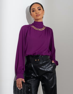 Purple Tie Neck Chain Blouse