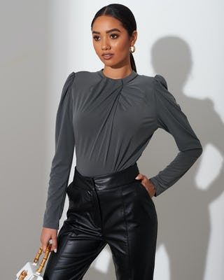 Khaki Ruched High Neck Bodysuit