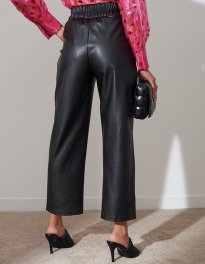Black Faux Leather Ankle Grazer Trousers
