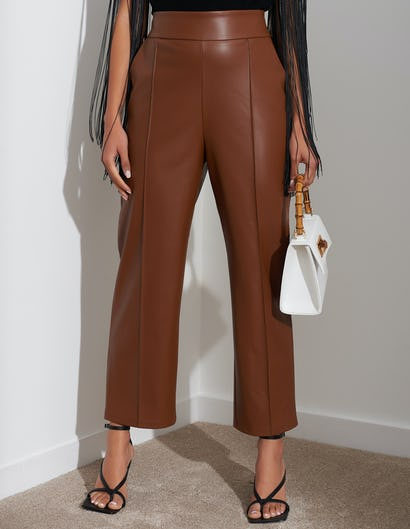 Tan Faux Leather Ankle Grazer Trousers