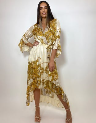 Gold Paisley Drop Hem Wrap Dress