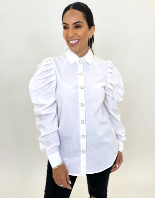 White Puff Shoulder Shirt