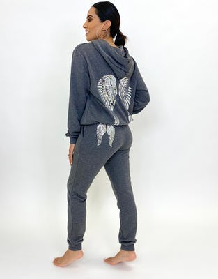 Two Piece Grey Angel Wings Lounge Set
