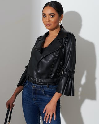 Fluted Sleeve Faux Leather Jacket