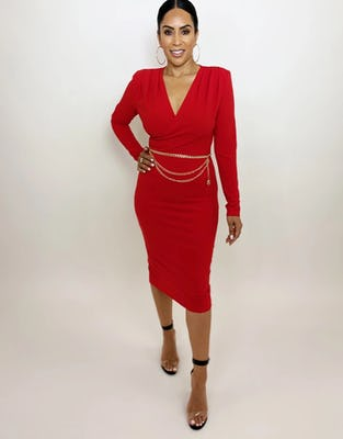 Red Wrap Crepe Midi Dress