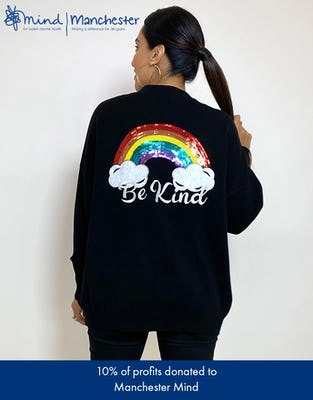 "Black ""Be Kind"" Slogan Jumper"