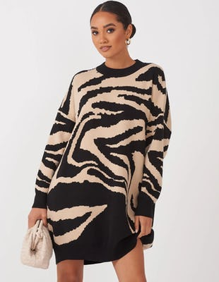 Beige Zebra Print Jumper Dress