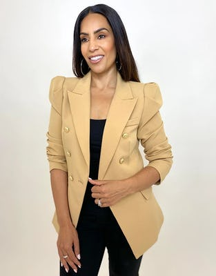Camel Double Breasted Power Blazer