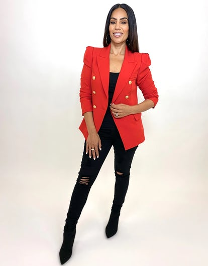 Red Double Breasted Power Blazer