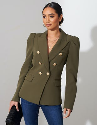 Khaki Double Breasted Power Blazer