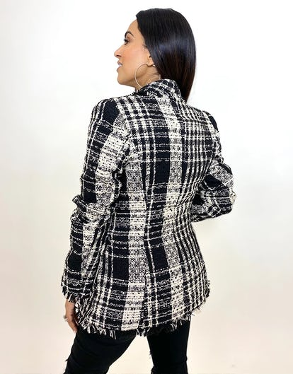 Black & White Tweed Double Breasted Jacket