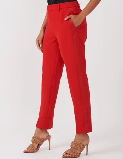 Red Satin Panel Trousers