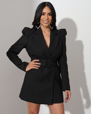 Black Belted Blazer Dress
