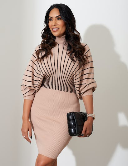 Nude Batwing Ribbed Knit Dress