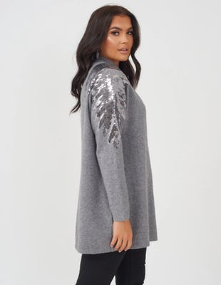 Grey Sequin Wings Oversized Jumper