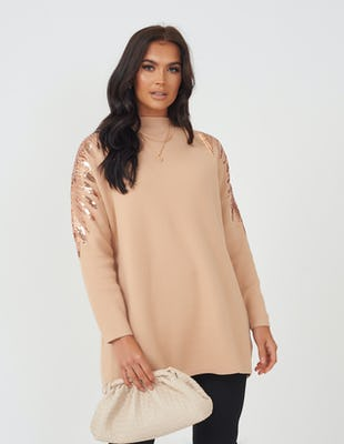 Tan Sequin Wings Oversized Jumper