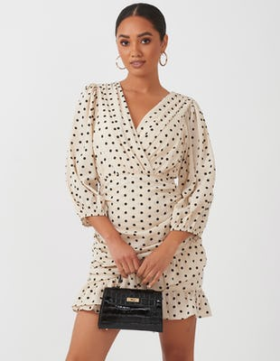 Cream Polka Dot Mini Dress