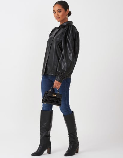 Black Faux Leather Puff Sleeve Shirt