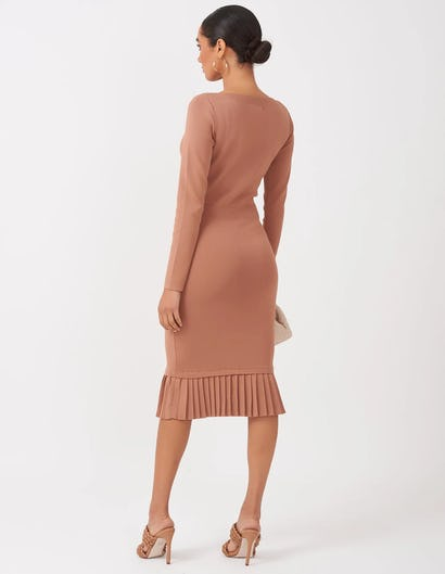 Tan Knitted Midi Dress
