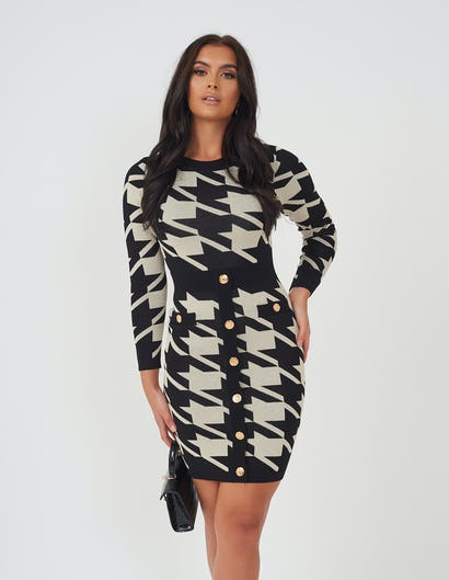 Black & Gold Houndstooth Knitted Dress